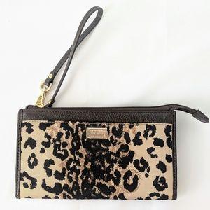Coach leopard wristlet leather trim New no tag